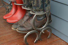 Custom Boot Shoe Rack Horse Shoe Art Craft Metal Art Country Equestrian Rustic