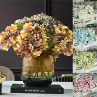 6 Heads Artificial Silk Hydrangea Fake Flowers Bouquet Bunch Party Home Decor