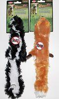 "CLEARANCE!!  2 Mini Skinneeez Stuffing Free 14"" Dog Toys Skunk & Fox"