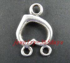15pcs Tibetan Silver 2-to-1 Heart Connectors 22x15x3mm 205