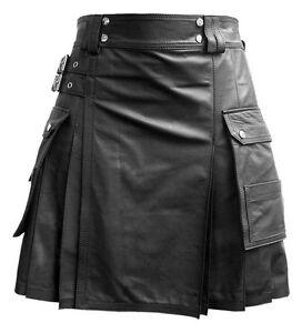Men Black Leather Gladiator Pleated Utility Kilt FLAT FRONT TWIN CARGO POCKETS