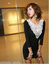 White Lace Neckline Clubbing Evening Party Mini Black Dress 8727