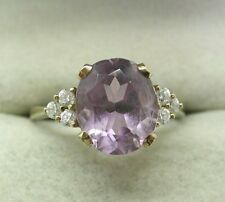 A Lovely 9ct Gold Large Amethyst And White Stone Dress Ring