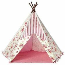 Kids Teepee Indian Play Tent Floral Canvas Girls Outdoor Indoor Large Wigwam New