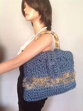 Hand Knit Bag Purse Denim Blue Tertoise Like Handles Original Design Fashion Hip