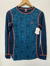 NWT KARI TRAA Vrang LS Top Base Layer wool Blend Teal Blue coral Orange Trim