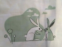 Ikea Bussig Baby Crib Duvet Cover Rabbits Green White NEW 43.5 x 50 100% Cotton