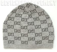 GUCCI 2-tone Gray GG 100% Cashmere knit BEANIE Skully hat NWT Authentic ONE SIZE