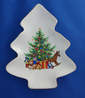 "Christmas Tree with toys Happy Holidays candy dish 6¼"" ceramic"
