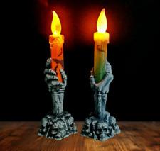 2X Scheletro di Halloween Decorato a mano con lampada a fiamma di candela