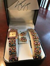 SUZANNE SOMERS MULTI-COLOR CRYSTALS WATCH, BRACELET & EARRING SET
