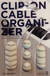 MVMT Clip On Cable Organizer - Pack of 5 ( White) T00015-WHA