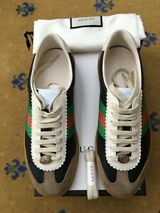 New Gucci Mens G74 Trainer Sneaker Shoes Leather Suede UK 8 US 8.5 42 Web Bee
