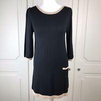 M&S Woman Camel & Black Fine Knit Jumper Dress Size 10 BNWOT
