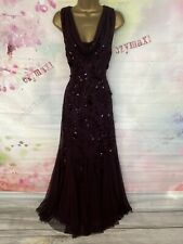 PHASE EIGHT STUNNING DEEP RED FULL LENGTH SEQUINED MAXI GOWN DRESS SIZE 14