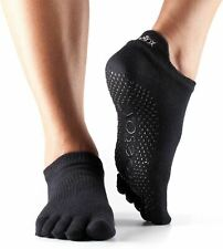 Toesox Low Rise Full Toe Socks in Black with Non Slip Sole - 6-8.5 UK - M