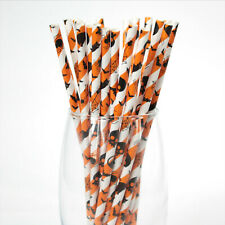 Halloween Paper Straws (Ø 6mm, 200mm) - Pack Qty 1-500 - UK MADE