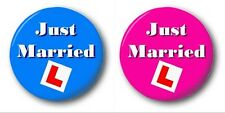 JUST MARRIED 2 SET  - 2x 1 inch / 25mm Button Badge - Novelty Bride L-Plate