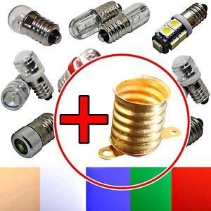 E10 LED + Socket - 6V 12V - Screw Mount Replacement Lighting White Red Green