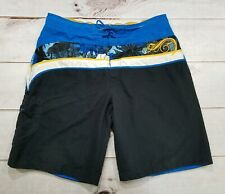 Speedo Mens Cargo Board Shorts Swim Trunks Blue Striped Men's Size Large 34-36