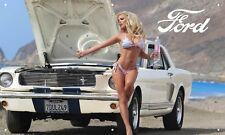 White Mustang Gt. 350 Hot Chicks 3'X5' Vinyl Banner Man Cave Hot Girls Garage