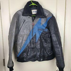 Vtg POLARIS Hein Gericke Racing Leather Snowmobile Jacket Coat Size: L