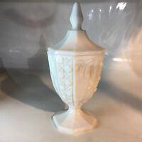 """Vintage Milk Glass Pedestal Lidded Compote Dish Candy Bowl 10"""""""
