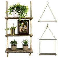 Wood Hanging Shelf Floating Wall Swing Storage Shelf Rope Plant Organizer Rack .