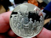 Silver Medal, 1869, Nation Linked by Golden Spike, 1.05 Troy Oz. Sterling Silver