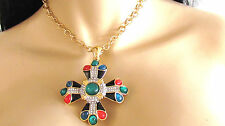 "NEW DESIGNER KENNETH JAY LANE MULTI COLOR PAVE CROSS PENDANT 24"" LONG NECKLACE"