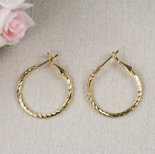 E11 24K Yellow Gold Filled Carved Design Creole Hoop Earrings