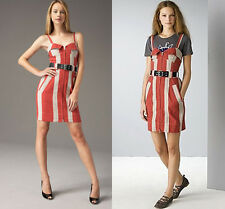 NWT Marc by Marc Jacobs red / tan multi striped summer open shoulder Dress  12 M