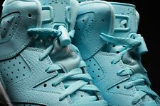 1 Pair New Jordan 6 Powder Blue/ White Jumpman Replacement Lace locks Unc Chrome