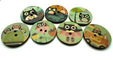 20mm Green Owl Wooden Buttons, Round Sewing Buttons, 2 Hole Knitting Buttons
