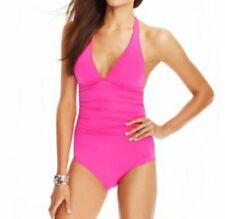 DKNY Swim One Piece Sz 6 Glamour Pink Shirred Halter Maillot Swimsuit D62381A