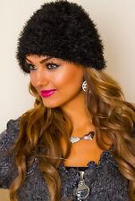 SeXy Miss Damen Girly flauschig Mütze Beanie Franzengarn Strick Kappe schwarz