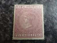 NATAL POSTAGE STAMPS SG71A 5/- (15 1/2x 15 1/2 PERF) MAROON LIGHTLY-MOUNTED MINT