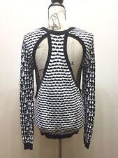 Red Saks Fifth Avenue Women Geometric Print Sweater Black White XS Cotton