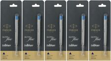 5 X Parker Quink Flow Ball Point Pen BP Refill Refills Blue Ink Medium Nib New