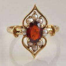 Stunning Vintage 9ct Gold Garnet & Pearl set Ring c1988; UK Ring Size 'K 1/2'
