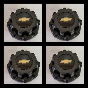 "4 Center Caps for Select Chvey , GMC Truck Van 8 Lugs BLACK 16"" Wheel Covers"