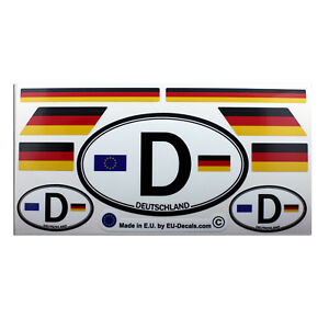 Set of 9 Germany flags & letter D car country sign Laminated Decals Stickers