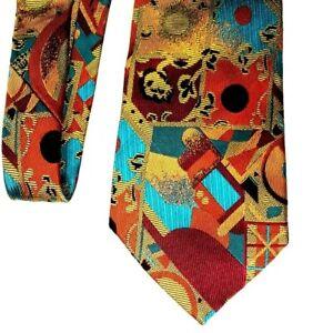 VERSACE 100% Silk Mens Tie Neiman Marcus Geometric Abstract Design