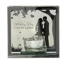 """Reflections of the heart Mirror Tea light candle holder  """"Wedding Day"""""""
