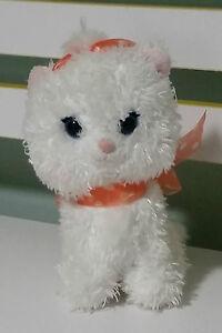 WHITE CAT PLUSH TOY WITH ORANGE BOW SEGA DISNEY FUN FAN AMUSE PRIZE COLLECTION!