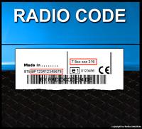 █►RADIO CODE passend für Blaupunkt Alfa Romeo 147 156 159 848 932 937 939 CD MP3