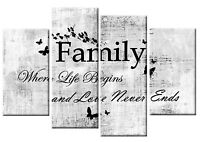 FAMILY QUOTE CANVAS PICTURE WHITE GREY BLACK 4 PANEL SPLIT WALL ART MULTI 100cm
