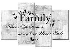 FAMILY QUOTE CANVAS PICTURE WHITE GREY BLACK 4 PANEL SPLIT WALL ART MULTI 100cm