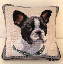 """Boston Terrier Dog Needlepoint Pillow 10""""x10"""" NWT"""
