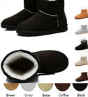 Fashion Womens Winter Warm Suede Fur Lined Mid-calf Snow Flat Short Boots Shoes